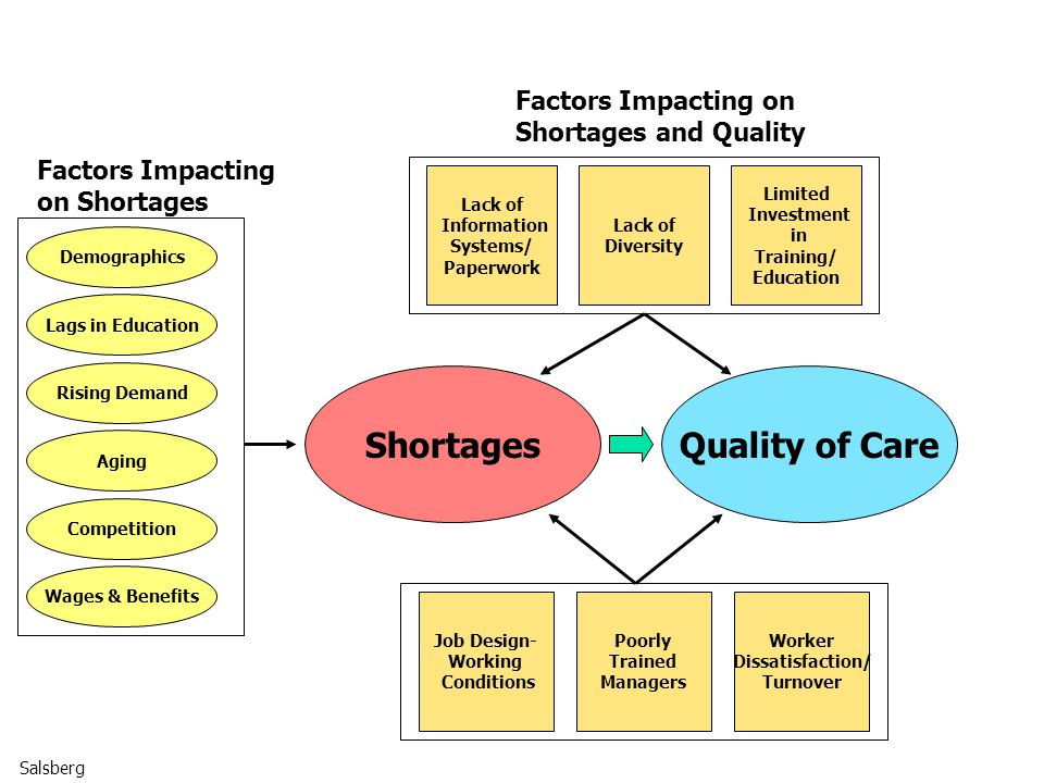 ShortagesQuality of Care Job Design- Working Conditions Poorly Trained Managers Worker Dissatisfaction/ Turnover Lack of Information Systems/ Paperwork Lack of Diversity Limited Investment in Training/ Education Lags in Education Rising Demand Aging Competition Wages & Benefits Demographics Factors Impacting on Shortages Factors Impacting on Shortages and Quality Salsberg