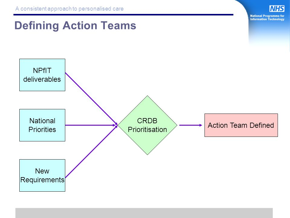 12 A consistent approach to personalised care Defining Action Teams CRDB Prioritisation Action Team Defined NPfIT deliverables New Requirements National Priorities