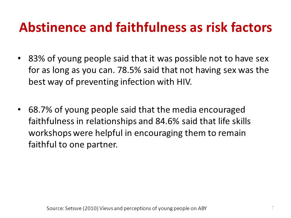 Abstinence and faithfulness as risk factors 83% of young people said that it was possible not to have sex for as long as you can.