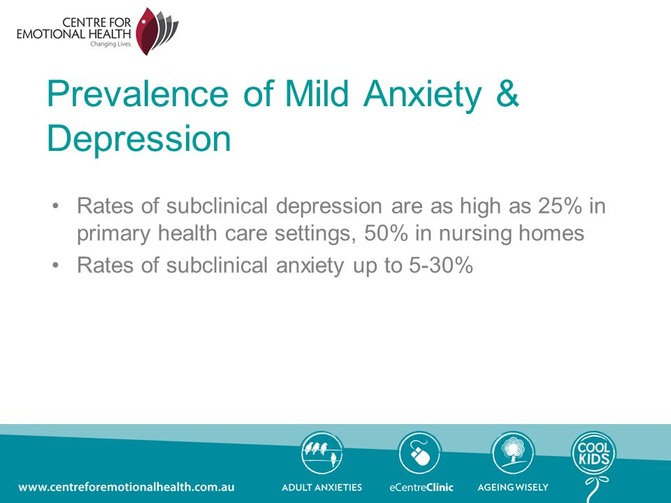 Prevalence of Mild Anxiety & Depression Rates of subclinical depression are as high as 25% in primary health care settings, 50% in nursing homes Rates of subclinical anxiety up to 5-30%