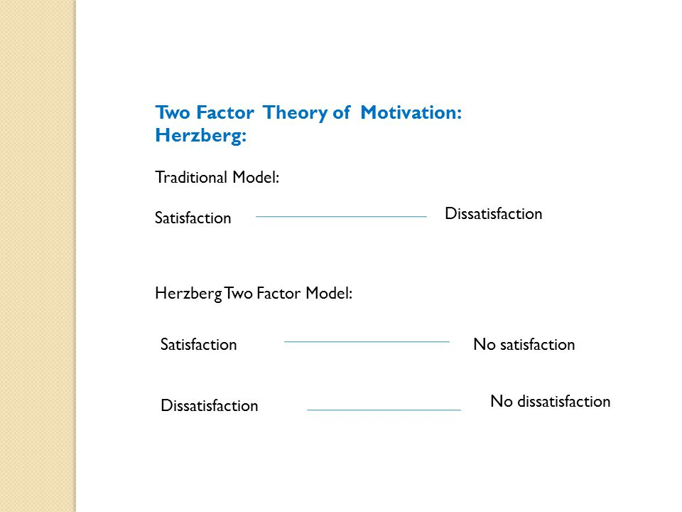 Two Factor Theory of Motivation: Herzberg: Traditional Model: Satisfaction Dissatisfaction Herzberg Two Factor Model: Satisfaction Dissatisfaction No satisfaction No dissatisfaction