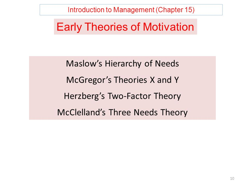 Introduction to Management (Chapter 15) 10 Maslow's Hierarchy of Needs McGregor's Theories X and Y Herzberg's Two-Factor Theory McClelland's Three Needs Theory Early Theories of Motivation