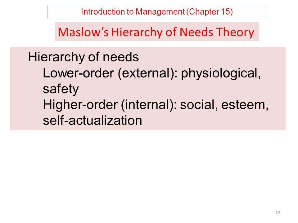 Introduction to Management (Chapter 15) 12 Maslow's Hierarchy of Needs Theory Hierarchy of needs Lower-order (external): physiological, safety Higher-order (internal): social, esteem, self-actualization