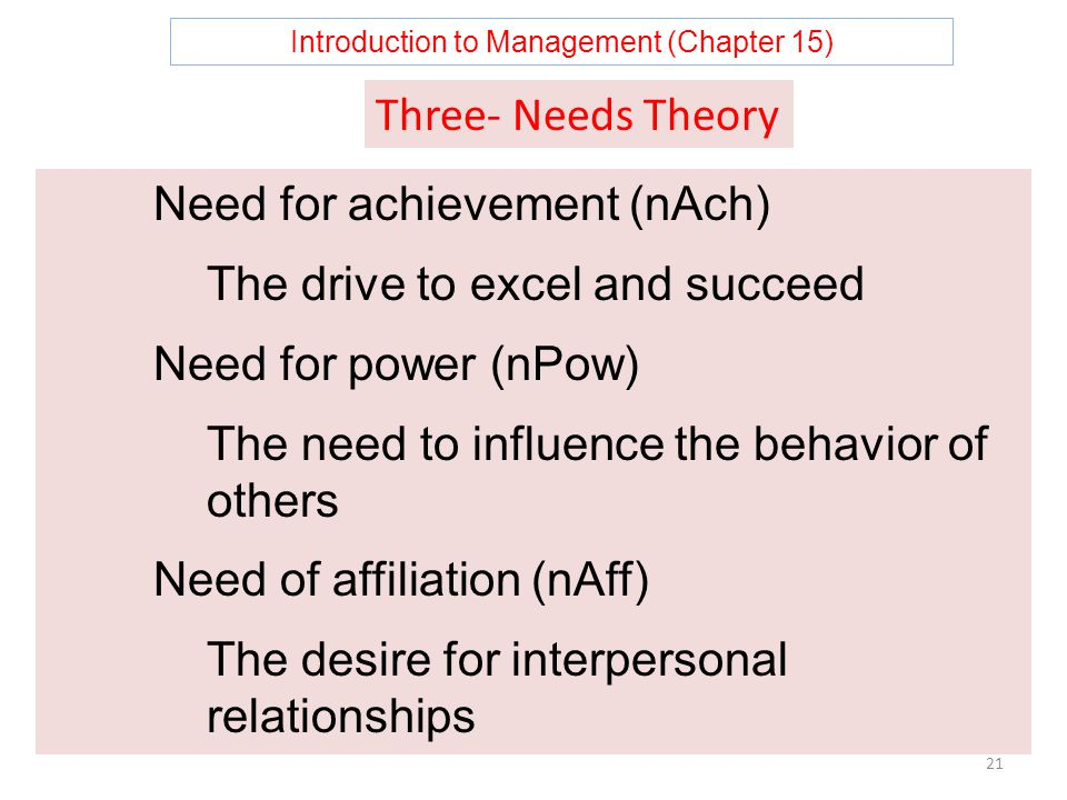 Introduction to Management (Chapter 15) 21 Need for achievement (nAch) The drive to excel and succeed Need for power (nPow) The need to influence the behavior of others Need of affiliation (nAff) The desire for interpersonal relationships Three- Needs Theory