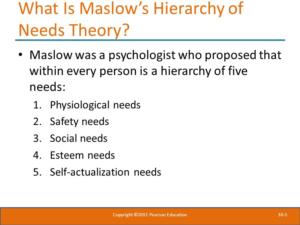 10-5 What Is Maslow's Hierarchy of Needs Theory.