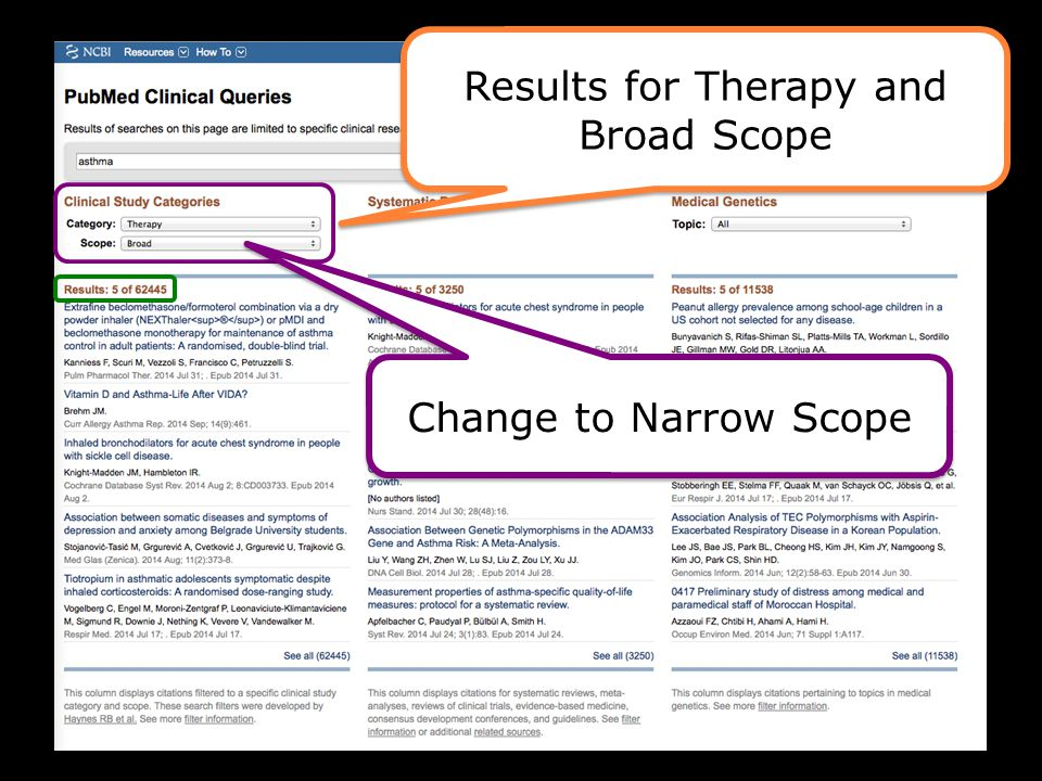 Results for Therapy and Broad Scope Results for Therapy and Broad Scope Change to Narrow Scope