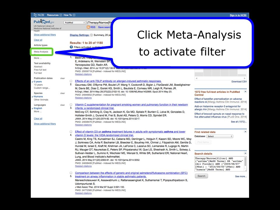 Click Meta-Analysis to activate filter Click Meta-Analysis to activate filter