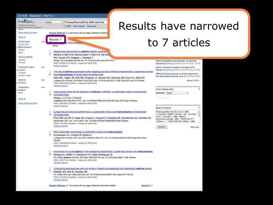 Results have narrowed to 7 articles