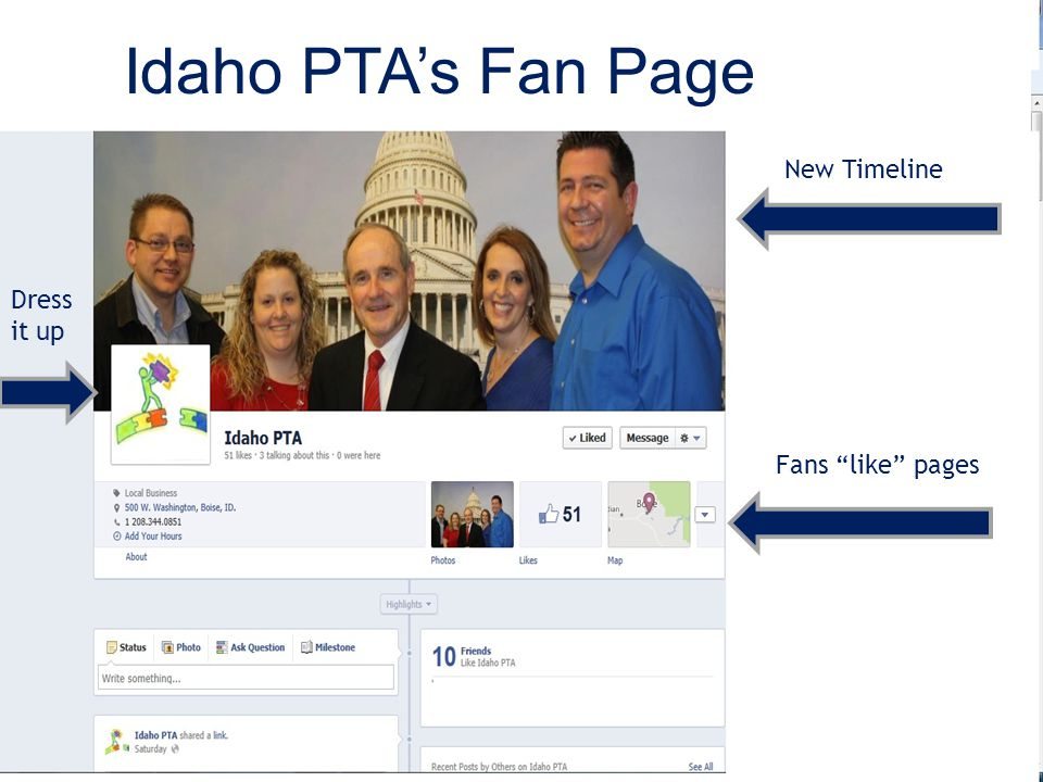 Idaho PTA's Fan Page Fans like pages New Timeline Dress it up