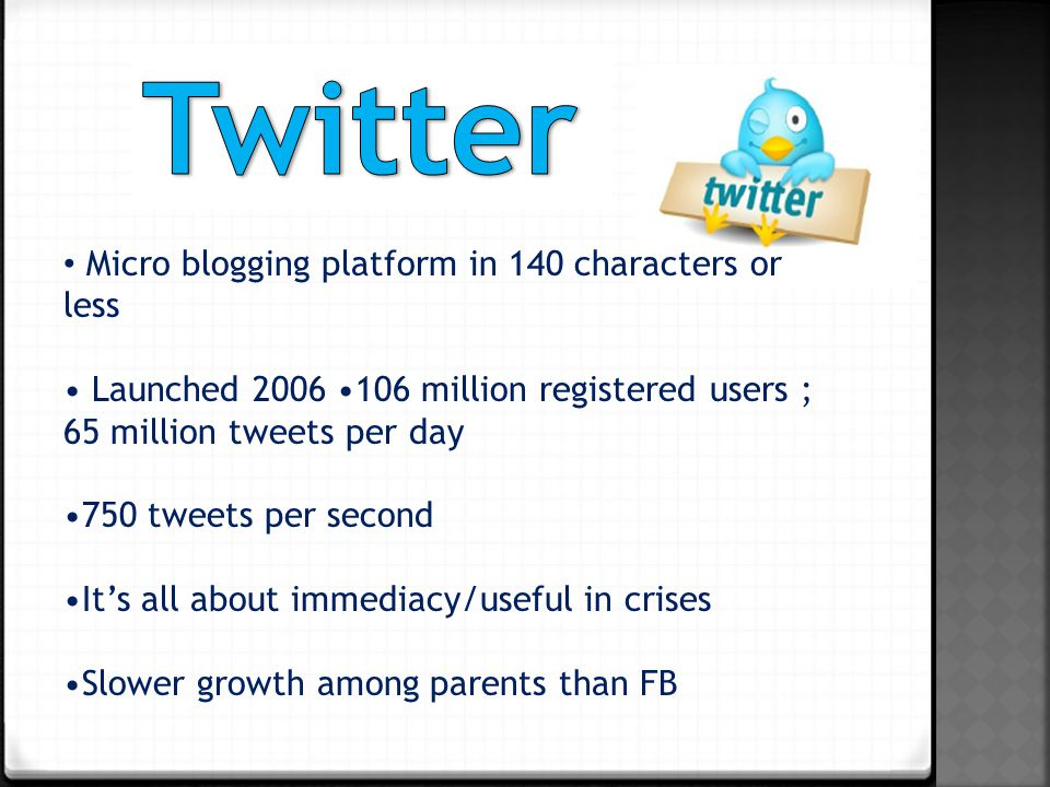 Micro blogging platform in 140 characters or less Launched million registered users ; 65 million tweets per day 750 tweets per second It's all about immediacy/useful in crises Slower growth among parents than FB