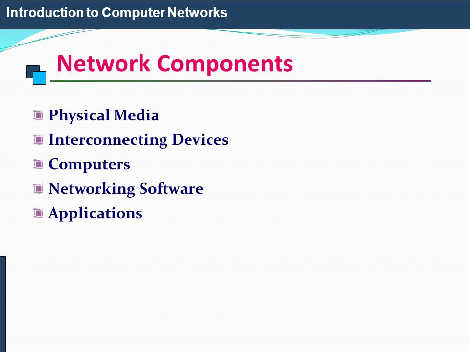 Network Components Physical Media Interconnecting Devices Computers Networking Software Applications Introduction to Computer Networks