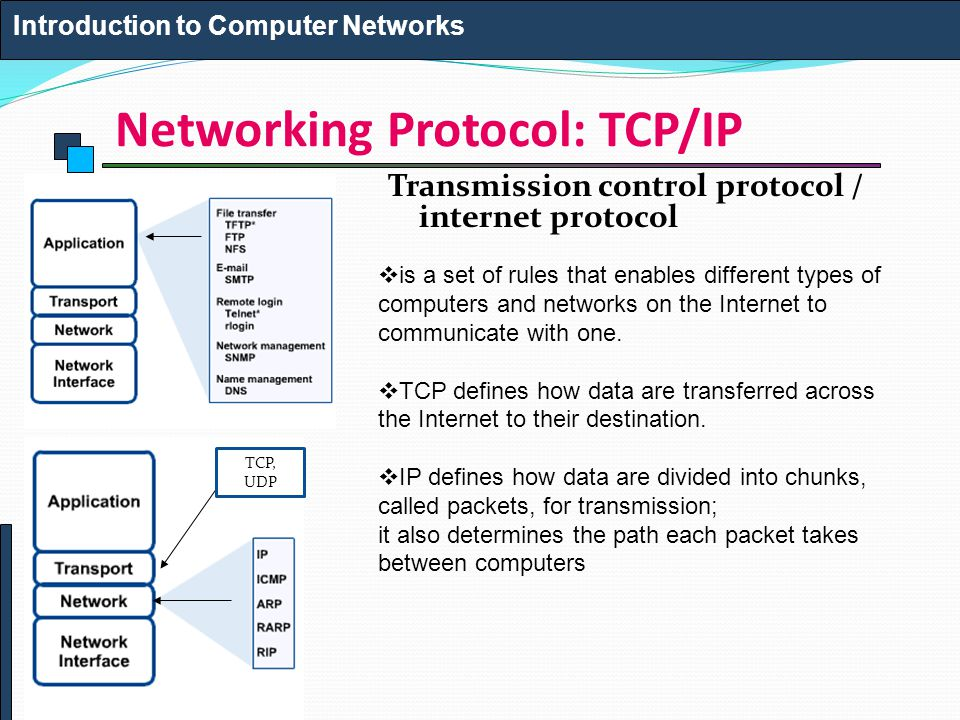 Networking Protocol: TCP/IP Transmission control protocol / internet protocol Introduction to Computer Networks TCP, UDP  is a set of rules that enables different types of computers and networks on the Internet to communicate with one.