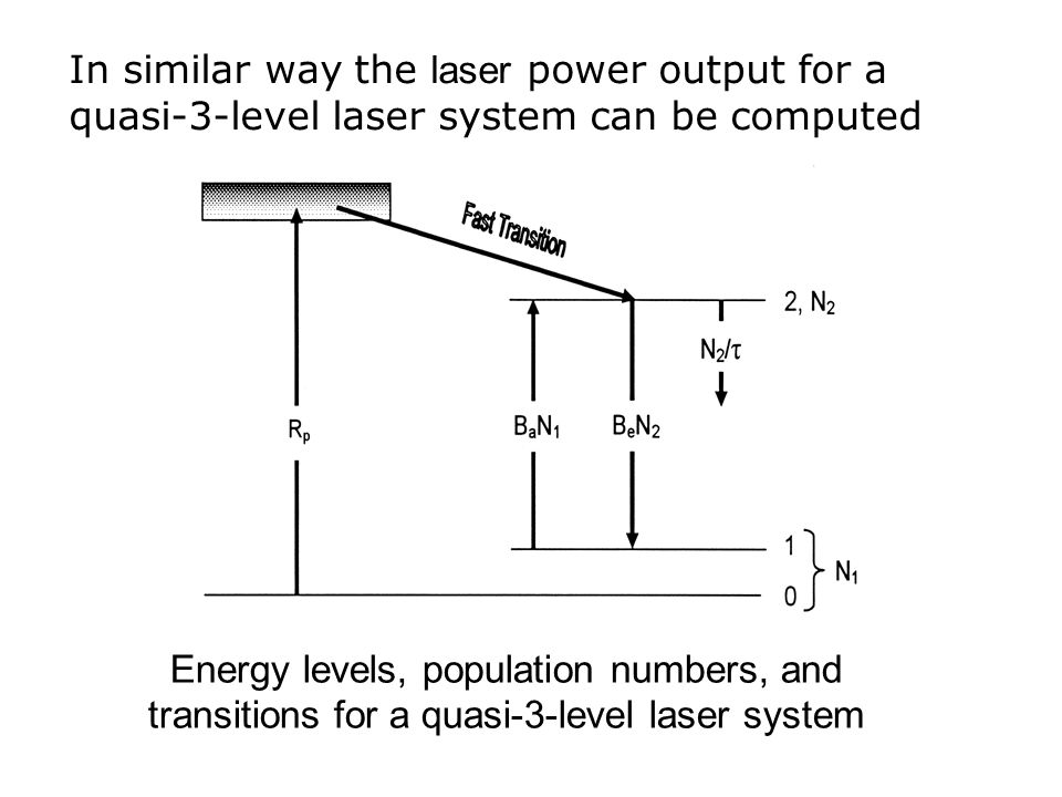 In similar way the laser power output for a quasi-3-level laser system can be computed Energy levels, population numbers, and transitions for a quasi-3-level laser system