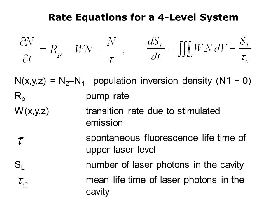 Rate Equations for a 4-Level System N(x,y,z) = N 2 –N 1 population inversion density (N1 ~ 0) R p pump rate W(x,y,z)transition rate due to stimulated emission spontaneous fluorescence life time of upper laser level S L number of laser photons in the cavity mean life time of laser photons in the cavity