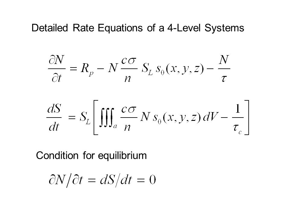 Detailed Rate Equations of a 4-Level Systems Condition for equilibrium