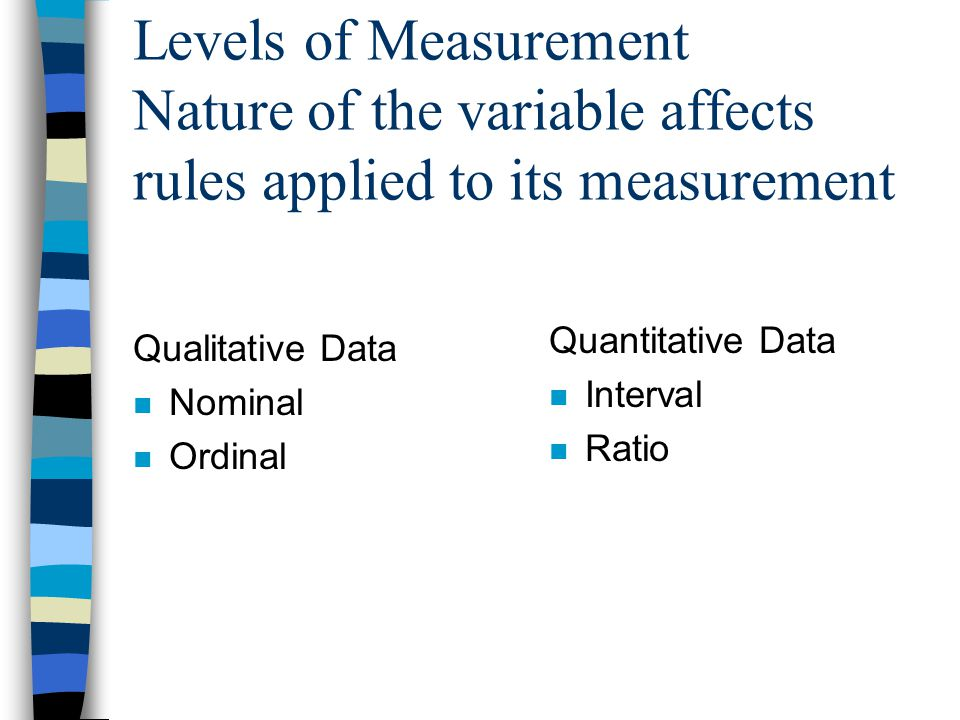 Levels of Measurement Nature of the variable affects rules applied to its measurement Qualitative Data n Nominal n Ordinal Quantitative Data n Interval n Ratio