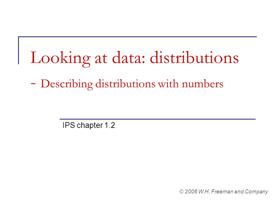 Looking at data: distributions - Describing distributions with numbers IPS chapter 1.2 © 2006 W.H.