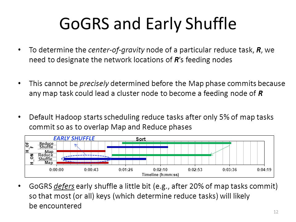 GoGRS and Early Shuffle To determine the center-of-gravity node of a particular reduce task, R, we need to designate the network locations of R's feeding nodes This cannot be precisely determined before the Map phase commits because any map task could lead a cluster node to become a feeding node of R Default Hadoop starts scheduling reduce tasks after only 5% of map tasks commit so as to overlap Map and Reduce phases GoGRS defers early shuffle a little bit (e.g., after 20% of map tasks commit) so that most (or all) keys (which determine reduce tasks) will likely be encountered EARLY SHUFFLE Shuffle Map Reduce 12