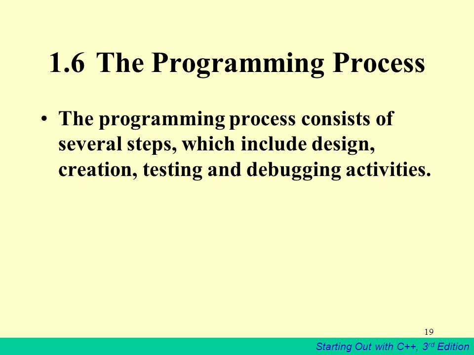 Starting Out with C++, 3 rd Edition The Programming Process The programming process consists of several steps, which include design, creation, testing and debugging activities.
