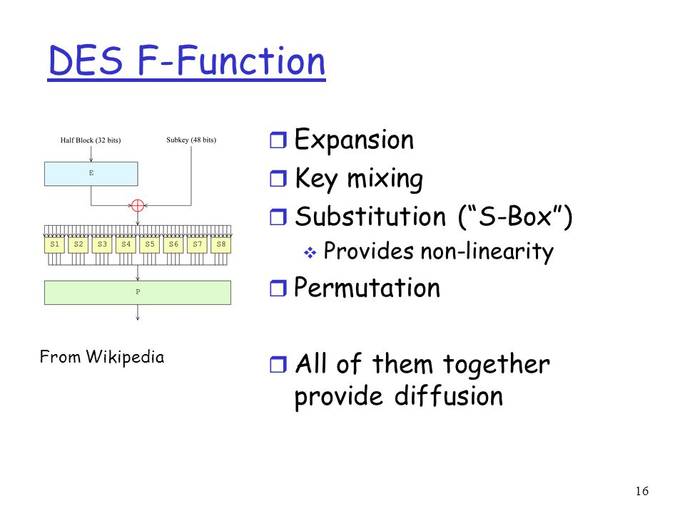 16 DES F-Function r Expansion r Key mixing r Substitution ( S-Box )  Provides non-linearity r Permutation r All of them together provide diffusion From Wikipedia