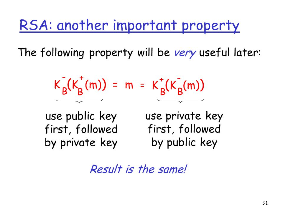 31 RSA: another important property The following property will be very useful later: K ( K (m) ) = m B B - + K ( K (m) ) B B + - = use public key first, followed by private key use private key first, followed by public key Result is the same!