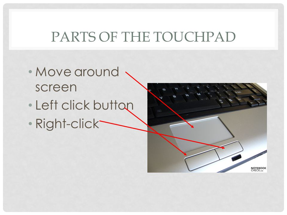 PARTS OF THE TOUCHPAD Move around screen Left click button Right-click