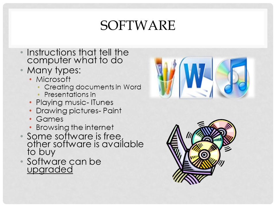 SOFTWARE Instructions that tell the computer what to do Many types: Microsoft Creating documents in Word Presentations in Playing music- ITunes Drawing pictures- Paint Games Browsing the internet Some software is free, other software is available to buy Software can be upgraded