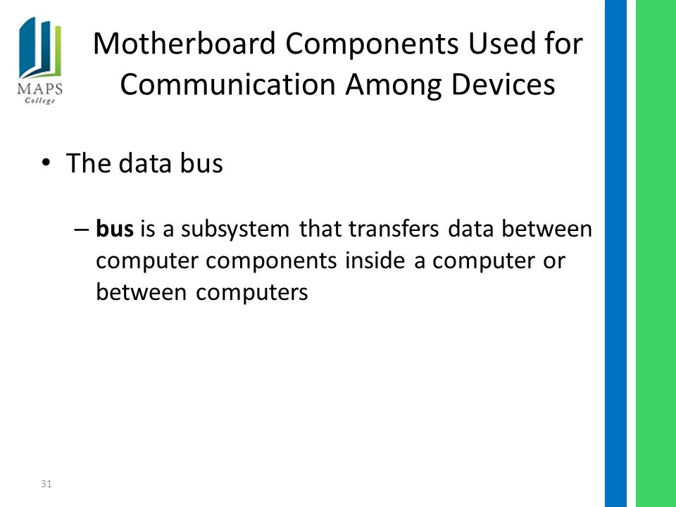 31 Motherboard Components Used for Communication Among Devices The data bus – bus is a subsystem that transfers data between computer components inside a computer or between computers