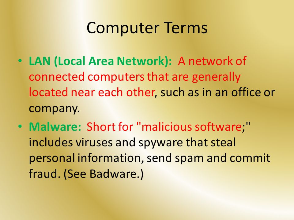 Computer Terms LAN (Local Area Network): A network of connected computers that are generally located near each other, such as in an office or company.