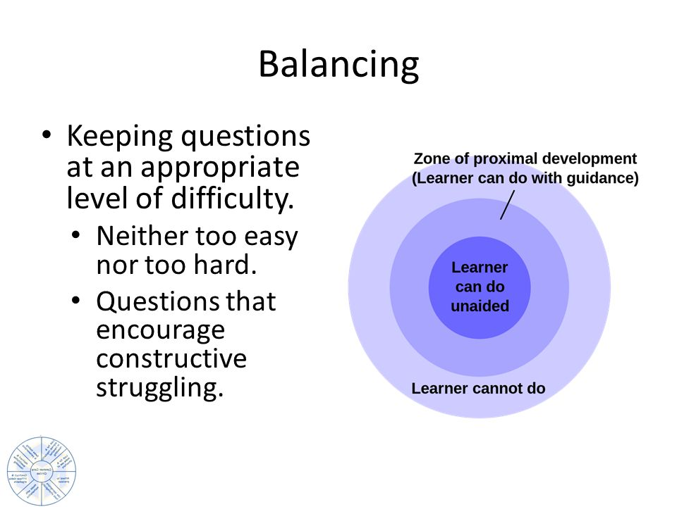 Balancing Keeping questions at an appropriate level of difficulty.