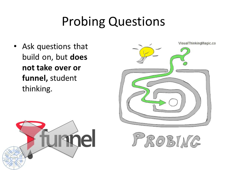 Probing Questions Ask questions that build on, but does not take over or funnel, student thinking.