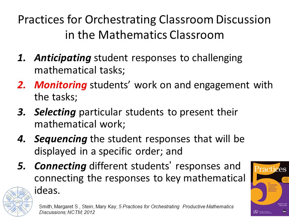 Practices for Orchestrating Classroom Discussion in the Mathematics Classroom 1.Anticipating student responses to challenging mathematical tasks; 2.Monitoring students' work on and engagement with the tasks; 3.Selecting particular students to present their mathematical work; 4.Sequencing the student responses that will be displayed in a specific order; and 5.Connecting different students' responses and connecting the responses to key mathematical ideas.