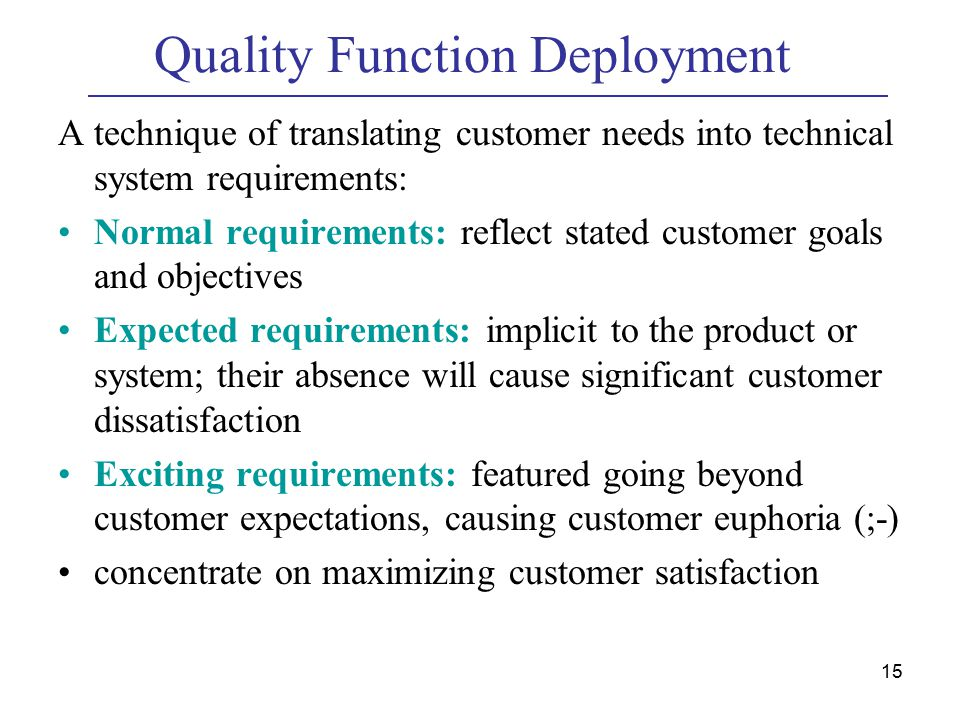 15 Quality Function Deployment A technique of translating customer needs into technical system requirements: Normal requirements: reflect stated customer goals and objectives Expected requirements: implicit to the product or system; their absence will cause significant customer dissatisfaction Exciting requirements: featured going beyond customer expectations, causing customer euphoria (;-) concentrate on maximizing customer satisfaction