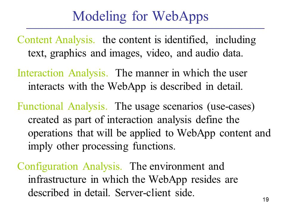 19 Modeling for WebApps Content Analysis.