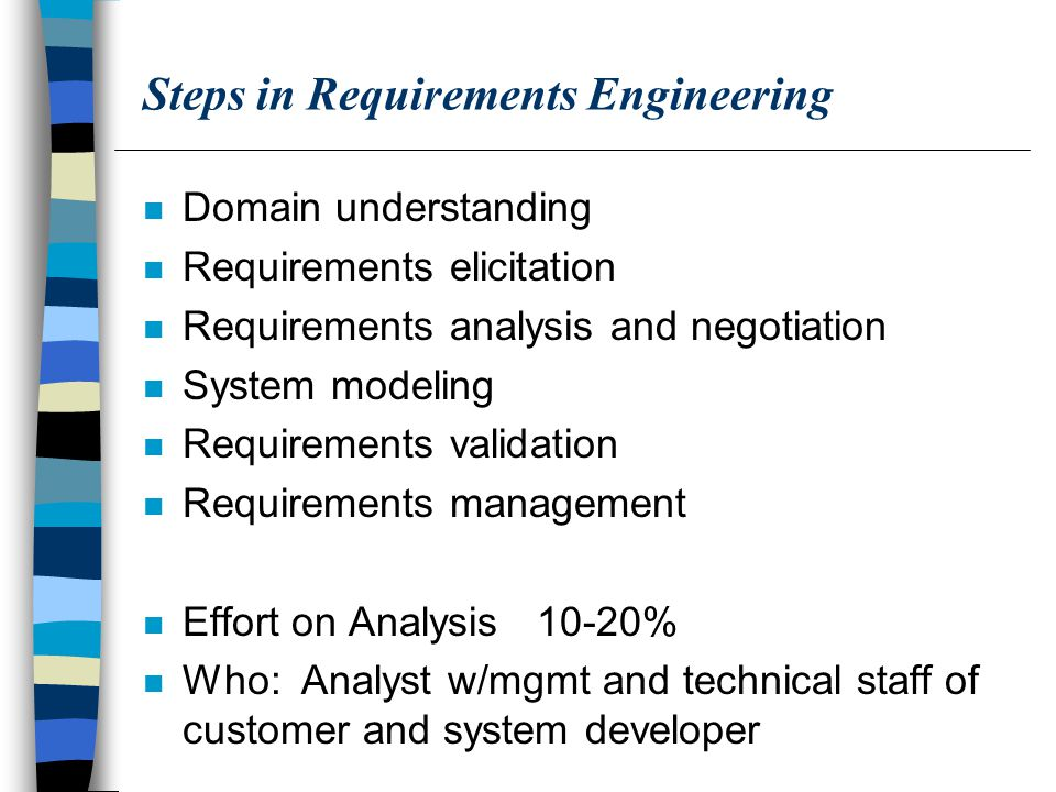 Steps in Requirements Engineering n Domain understanding n Requirements elicitation n Requirements analysis and negotiation n System modeling n Requirements validation n Requirements management n Effort on Analysis 10-20% n Who: Analyst w/mgmt and technical staff of customer and system developer