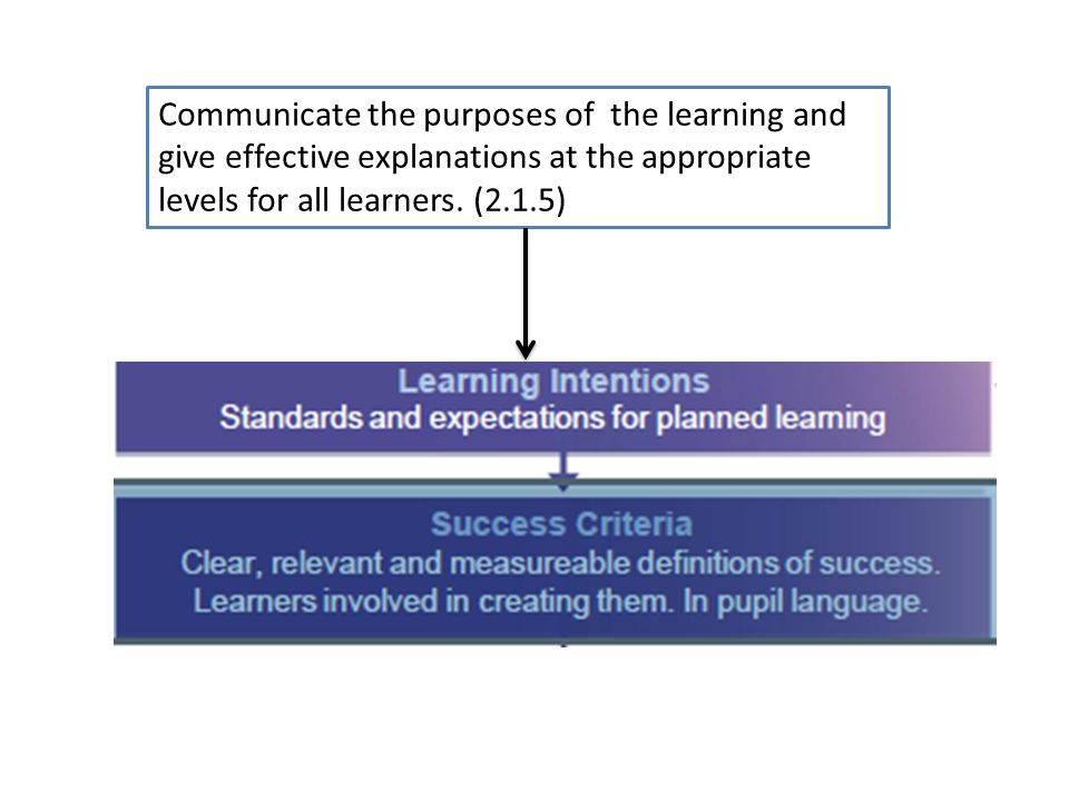 Communicate the purposes of the learning and give effective explanations at the appropriate levels for all learners.