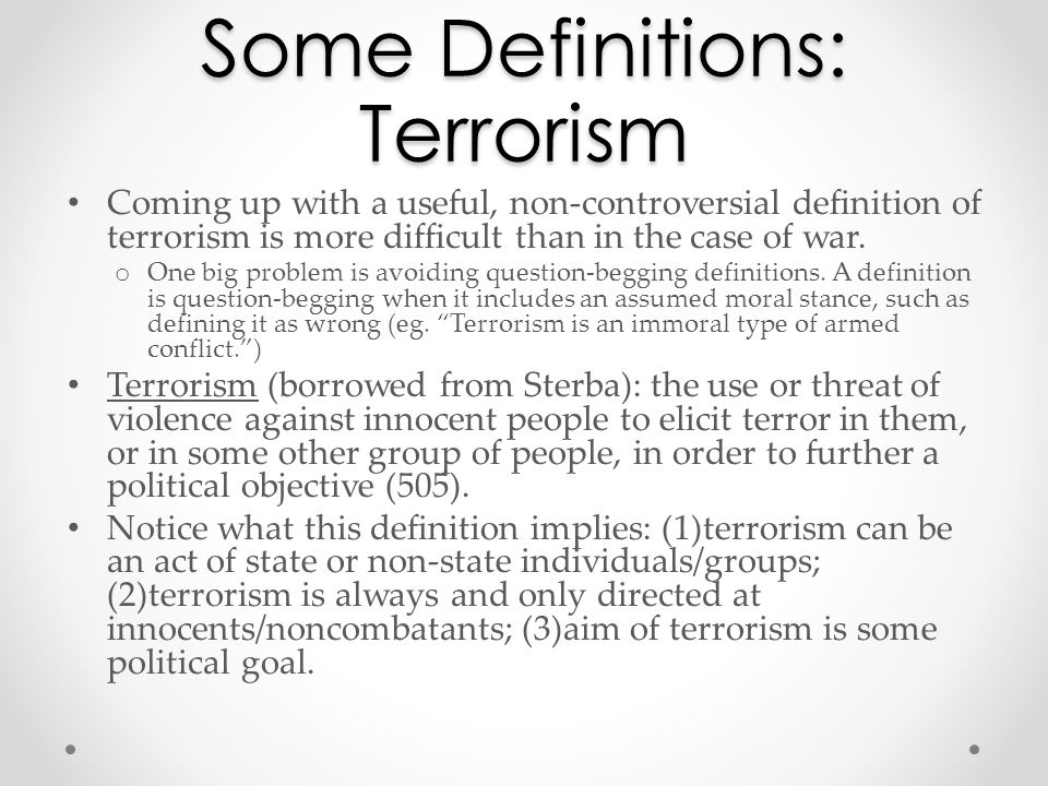 an analysis of the definition description of terrorism The immorality of terrorism: a comparative analysis of terrorism vs war on september 11, 2001, al qaeda attacked new york's world trade center approximately 3,000 people died, and the world has never been the same since the attack this july norway also felt the agony of a terrorist attack, with.