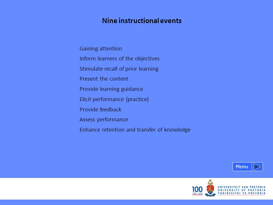 Nine instructional events Gaining attention Menu Inform learners of the objectives Stimulate recall of prior learning Present the content Provide learning guidance Elicit performance (practice) Provide feedback Assess performance Enhance retention and transfer of knowledge