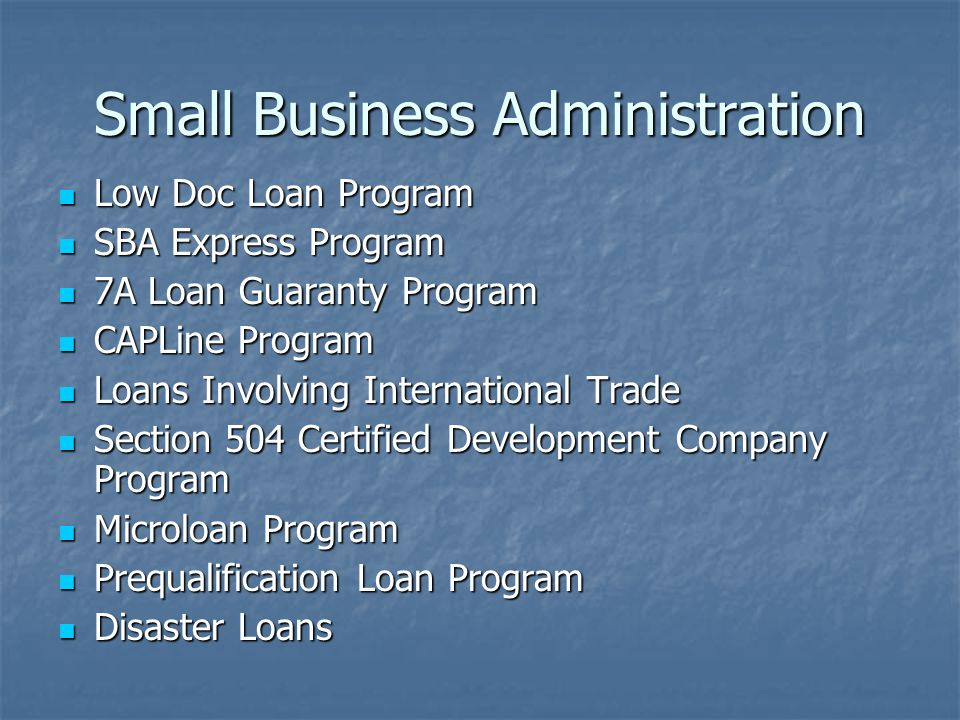 Small Business Administration Low Doc Loan Program Low Doc Loan Program SBA Express Program SBA Express Program 7A Loan Guaranty Program 7A Loan Guaranty Program CAPLine Program CAPLine Program Loans Involving International Trade Loans Involving International Trade Section 504 Certified Development Company Program Section 504 Certified Development Company Program Microloan Program Microloan Program Prequalification Loan Program Prequalification Loan Program Disaster Loans Disaster Loans