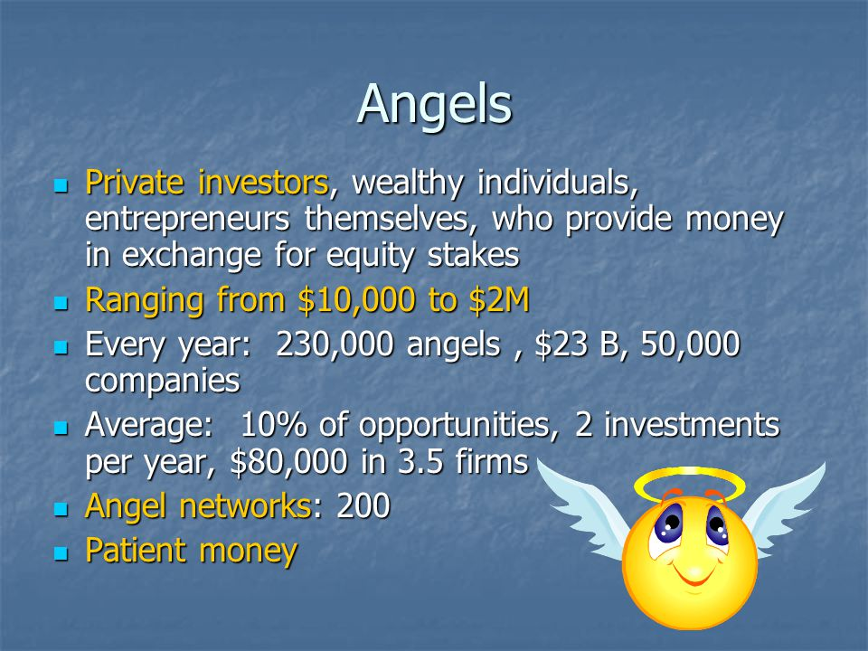 Angels Private investors, wealthy individuals, entrepreneurs themselves, who provide money in exchange for equity stakes Private investors, wealthy individuals, entrepreneurs themselves, who provide money in exchange for equity stakes Ranging from $10,000 to $2M Ranging from $10,000 to $2M Every year: 230,000 angels, $23 B, 50,000 companies Every year: 230,000 angels, $23 B, 50,000 companies Average: 10% of opportunities, 2 investments per year, $80,000 in 3.5 firms Average: 10% of opportunities, 2 investments per year, $80,000 in 3.5 firms Angel networks: 200 Angel networks: 200 Patient money Patient money