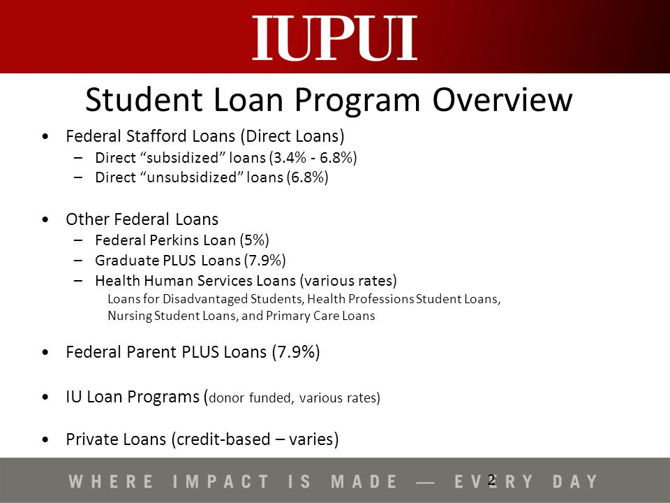 Iupui Financial Aid >> Student Loan Debt At Iupui Student Loan Program Overview