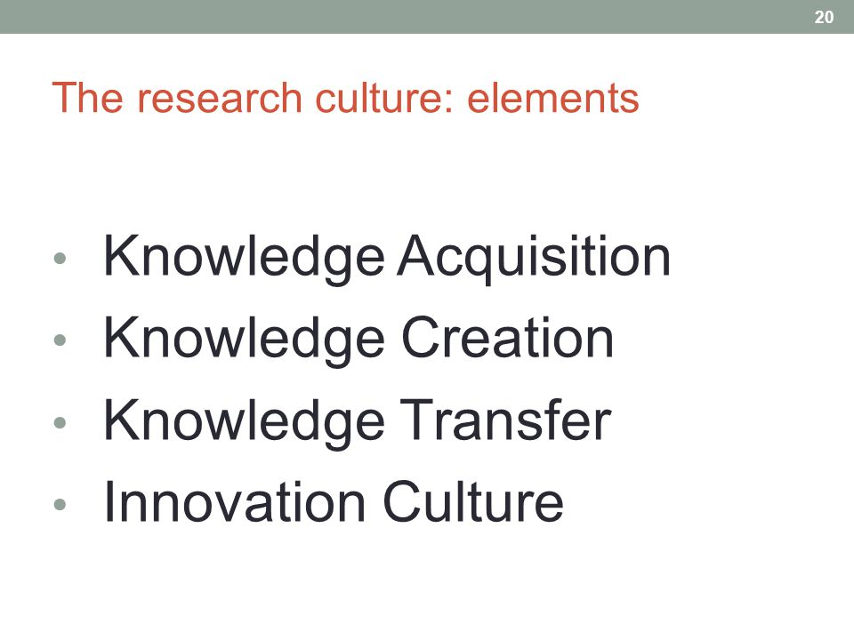 The research culture: elements Knowledge Acquisition Knowledge Creation Knowledge Transfer Innovation Culture 20