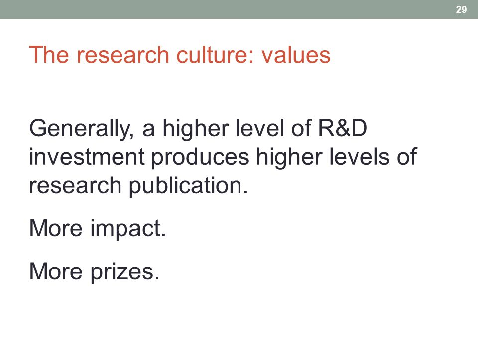 The research culture: values 29 Generally, a higher level of R&D investment produces higher levels of research publication.