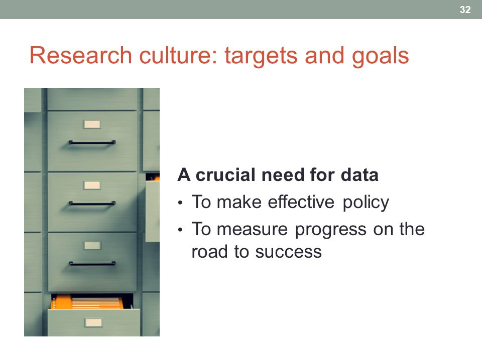 Research culture: targets and goals A crucial need for data To make effective policy To measure progress on the road to success 32 A d i f f i c u l t c o n t e x t : P e r s i s t e n t p o v e r t y C h r o n i c g o v e r n m e n t d e b t H i s t o r i c a l l y l o w R & D s p e n d i n g ( < 1.