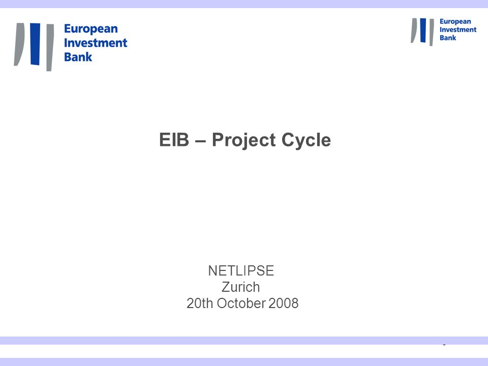 1 NETLIPSE Zurich 20th October 2008 EIB – Project Cycle