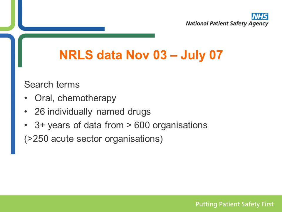 NRLS data Nov 03 – July 07 Search terms Oral, chemotherapy 26 individually named drugs 3+ years of data from > 600 organisations (>250 acute sector organisations)