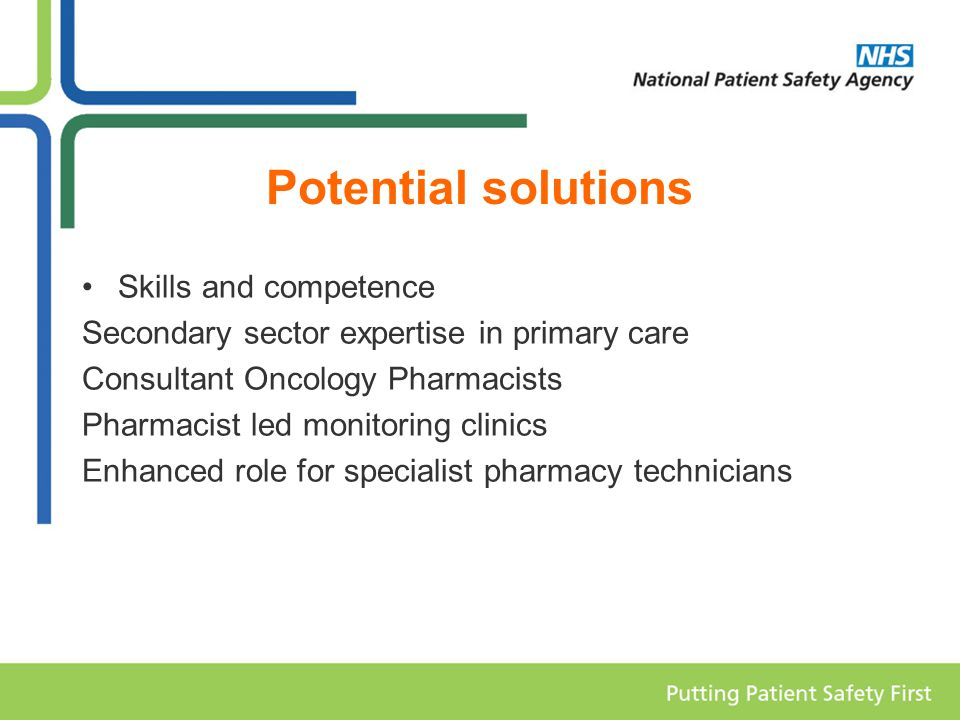 Potential solutions Skills and competence Secondary sector expertise in primary care Consultant Oncology Pharmacists Pharmacist led monitoring clinics Enhanced role for specialist pharmacy technicians