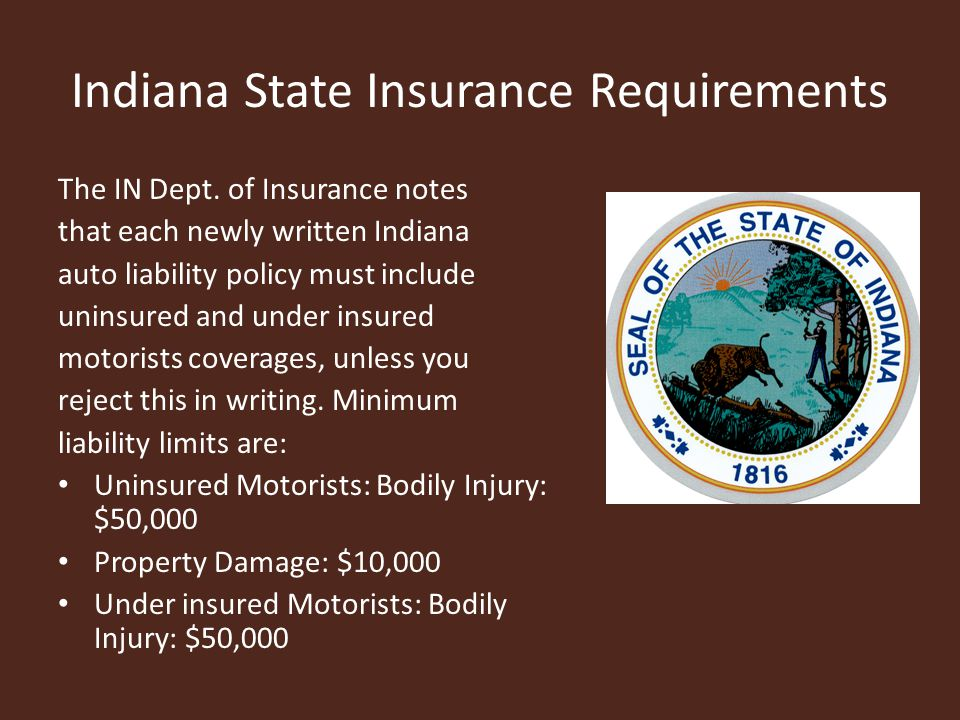 Indiana State Insurance Requirements The IN Dept.