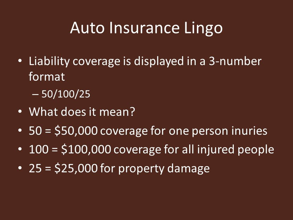 Auto Insurance Lingo Liability coverage is displayed in a 3-number format – 50/100/25 What does it mean.