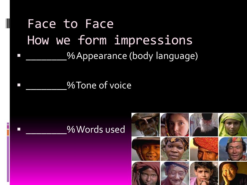 Face to Face How we form impressions  ________% Appearance (body language)  ________% Tone of voice  ________% Words used